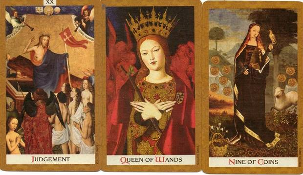 golden-tarot-judgement-queen-of-wands-nine-of-coins