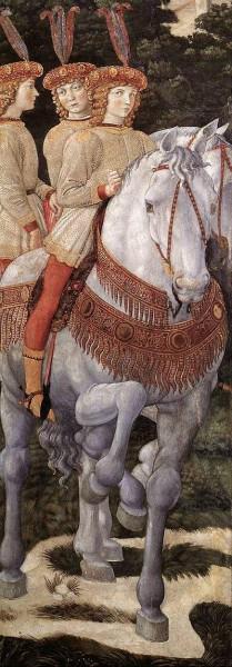 2. Беноццо Гоццоли. Шествие волхвов (фрагмент). 1459-1460