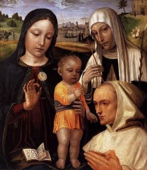 4. Амброджо Бергоньоне. Мадонна с младенцем. Святой Екатериной и Благословенным Стефано Макони. 1490