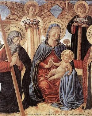 2. Беноццо Гоццоли. Мадонна с Младенцем, Св. Андреем и Св. Проспером (деталь). 1466
