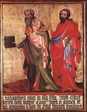 2. Неизвестный богемский Мастер. Святой Варфоломей и святой Фома. 1395