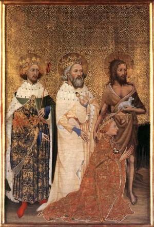 1. Неизвестный французский мастер. Уилтонский диптих. Мадонна с Младенцем и Ангелами. 1395-1399