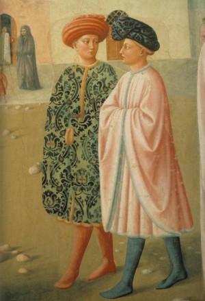 1. Мазолино да Паникале. Исцеление калеки и возвышение Табита. (деталь) 1426-1427