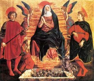 2. Андреа дель Кастаньо. Успение Богоматери с равноап. Миниато и Юлианом. 1450