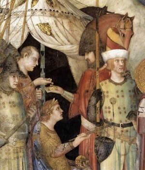 3. Симоне Мартини. Отречение св. Мартина от оружия (деталь). 1312-1317