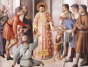 5. Фра Анджелико. Св. Лаврентий, принимающий сокровища церкви и раздающий милостыню (деталь).  1448-1450