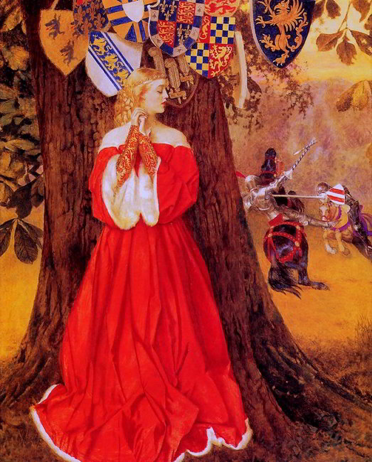 "Frank Cadogan Cowper.  ""Lancelot slays the Caitiff Knight Sir Tarquin and rescues the fair lady and the knight in captivity"""