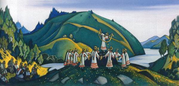 «Кривой Танец». Декорация Н.К. Рериха к балету на музыку И.Стравинского «Весна священная» (1913)
