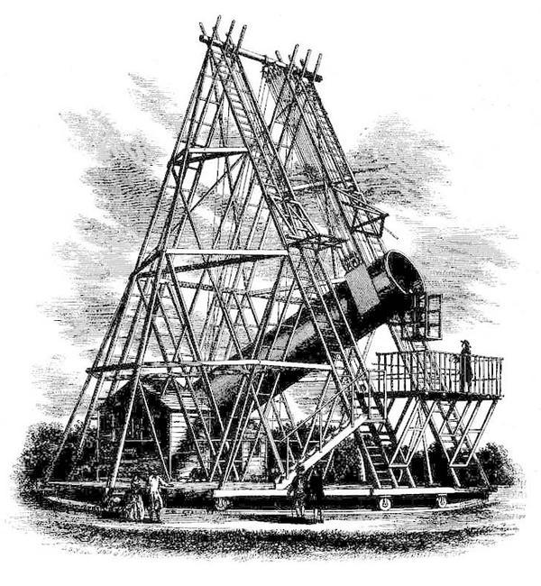 40-футовый телескоп Гершеля. Scanned from Leisure Hour, 1867